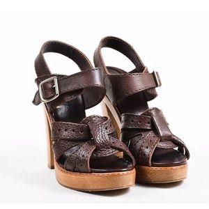 3a445ed51c5 Chloe. Chloe brown leather Wooden Platform